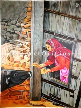 Buy Authentic Acrylic Painting On Canvas; Women and Cow 36 x 48 inches|RespectOrigins
