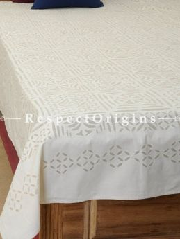 Buy Applique Work Double White bed cover; cotton, 90x108 in At RespectOrigins.com