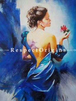 Beauty of Blue Painting - 32 In x 32 In Oil Canvas;
