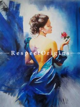 Adorable Painting of Lady in Blue Made of Oil on Canvas  |Buy Adorable Painting of Lady in Blue Made of Oil on Canvas   Online|RespectOrigins