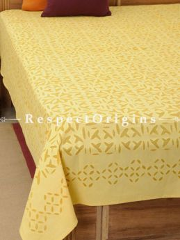 Buy Rajasthani Applique Work Light Yellow Bed Cover; Double, Cotton, 90x108 in At RespectOrigins.com
