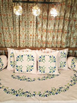 Champagne Coloured Hand-embroidered Needlepoint Florals on Rich Pure Cotton; Day Bed Diwan Set with Cover, 5 Throw Pillows and 2 End Pillows.. Sheet- 90x60 Inches, Pillows- 17x17 Inches, End Pillows- 33x17 Inches-Mu-50171-70192