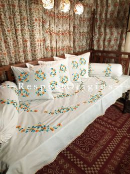 Classic White! Fabulous Hand-embroidered Needlepoint Florals on Rich Pure Cotton; Day Bed Diwan Set with Cover, 5 Throw Pillows and 2 End Pillows. Sheet- 90x60 Inches, Pillows- 17x17 Inches, End Pillows- 33x17 Inches-Mu-50171-70191