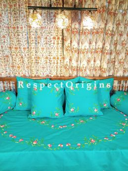 Emerald Green Red Hand-embroidered Needlepoint Florals on Rich Pure Cotton; Day Bed Diwan Set with Cover, 5 Throw Pillows and 2 End Pillows. Sheet- 90x60 Inches, Pillows- 17x17 Inches, End Pillows- 33x17 Inches-Mu-50171-70196