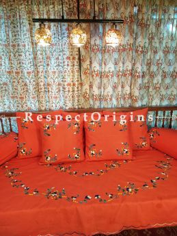 Nectarine Orange! Hand-embroidered Needlepoint Florals on Rich Pure Cotton; Day Bed Diwan Set with Cover, 5 Throw Pillows and 2 End Pillows.Sheet- 90x60 Inches, Pillows- 17x17 Inches, End Pillows- 33x17 Inches-Mu-50171-70197