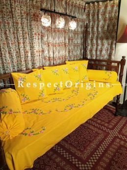 Splash of Luxury! Sunshine Yellow Hand-embroidered Needlepoint Florals on Rich Pure Cotton; Day Bed Diwan Set with Cover, 5 Throw Pillows and 2 End Pillows. Sheet- 90x60 Inches, Pillows- 17x17 Inches, End Pillows- 33x17 Inches-Mu-50171-70188