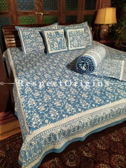 Fiona, Luxury Reversible Quilted Pure Organic Cotton Bedding Set; Comforter: 105x85 Inches; Bedspread: 105x90 Inches; Pillow Pair: 28x20 Inches; Cushion Pair: 16x16 Inches; Multi-coloured