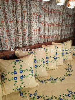 Quietly Elegant! Earthy Beige Hand-embroidered Needlepoint Florals on Rich Pure Cotton; Day Bed Diwan Set with Cover, 5 Throw Pillows and 2 End Pillows. Sheet- 90x60 Inches, Pillows- 17x17 Inches, End Pillows- 33x17 Inches-Mu-50171-70189