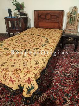 Beige Bedspread, Table Cloth or Throw with Aari work Embroidery and Contrasting Black border at respect origins.com