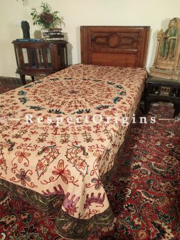 Earthy Beige Bedspread, Table Cloth or Throw with Aari work Embroidery and Contrasting Black border at respect origins.com