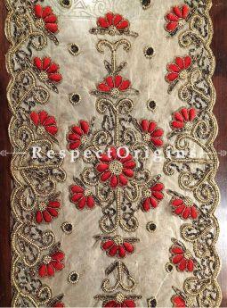 Buy Table Runner, Golden Red Black Beads, Beige base, Beadwork Handcrafted 58x18 in At RespectOrigins.com