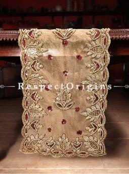 Buy Designer Table Runner, Golden Red Beads, Beige, Beadwork Handcrafted 58x18 in At RespectOrigins.com
