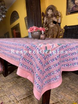 Le Provence Collection! Peachy Block-printed Floral Cotton Tablecloth for Al Fresco or Indoor Dining.; RespectOrigins.com