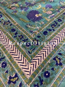 Le Provence Collection! Sea Green Block-printed Floral Cotton Tablecloth for Al Fresco or Indoor Dining.; RespectOrigins.com