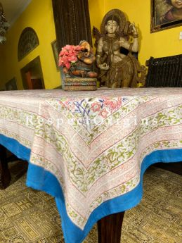 Le Provence Collection! White with Soft Pink Block-printed Floral Cotton Tablecloth for Al Fresco or Indoor Dining.; RespectOrigins.com