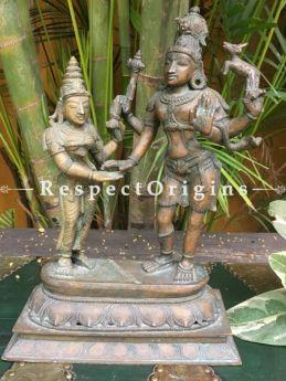 Buy Bronze Lakshmi & Vishnu Statue on an Oval Three-tiered Base At RespectOriigns.com