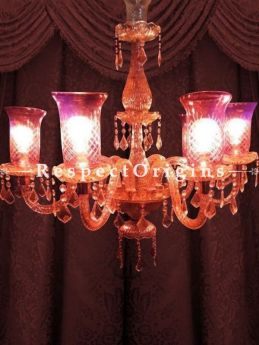 Buy Soft Fuschia Pink Handmade Glass Lamp Chandelier with 6 arms in Fine detail. At RespectOriigns.com