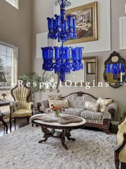 Buy Majestic Blue Two-tiered Rare Stunning Glass Lamp Chandelier. 18 Arms! At RespectOriigns.com