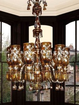 Buy Cinnamon and Gold Magical Glass Handcrafted and Hand-painted 8-Arm Chandelier Lights At RespectOriigns.com