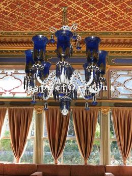 Buy Royal Blue Hand-Crafted 8-Enamel Armed Victorian Gold Painted Lamp Chandelier At RespectOriigns.com