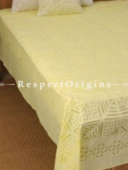 Buy Cream color Applique Work bed cover; Double, Cotton, 90x108 in At RespectOrigins.com