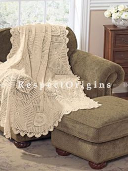 Buy Hand Knitted Beige Crochet Rectangular Table Cover, Round Mats and Coasters Sets; 49x59 in; Cotton At RespectOrigins.com