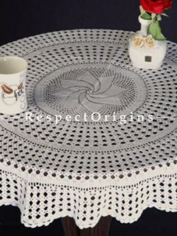 Buy Hand Knitted White Crochet Round Table Covers; Dia-40 in with 6 Coasters; Cotton At RespectOrigins.com
