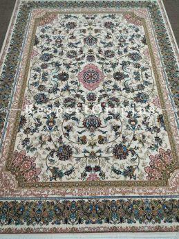 Buy Elegant and luxurious Kashmiri Silk Carpet; 6x9 Feet. Cream base. At RespectOriigns.com