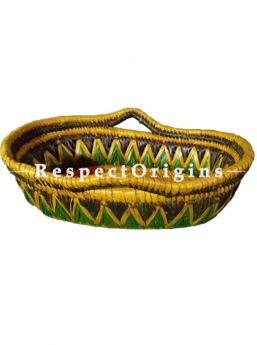 Handwoven Multi-Utility Basket; Moonj Grass Eco-friendly Oval Bread or Fruit Basket With Handle; RespectOrigins