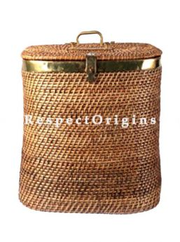 Buy Handwoven Square Rattan Cane Laundry bin with brass Trim and Lid. 21x10x21 inches|RespectOrigins