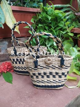 Black and White  Handwoven Organic Kauna Grass Natural and Black Braided Shopping or Beach Hand Bag; Height- 7 Inches, Width- 4 Inches, Depth- 10 Inches at Respectorigins.com