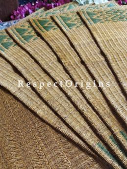 Hand-braided Organic Kora Grass Table Runner, Mats and Napkin Rings in a Natural Color Set of 6; Eco-friendly at RespectOrigins