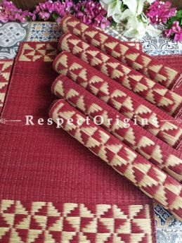 Hand-braided Organic Kora Grass Table Runner, Mats and Napkin Rings in a Red Set of 6; Eco-friendly at RespectOrigins