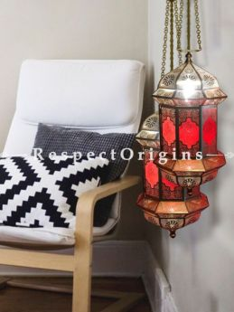 Buy Handcrafted Hanging Lamp in Copper and Red Glasswork. At RespectOriigns.com