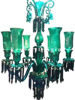 Buy Emerald Green Handcrafted Chandelier Light with 6 Arms At RespectOriigns.com