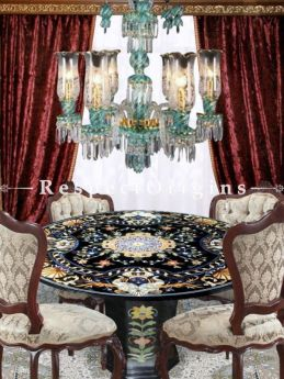 Buy Luxury Round Black Pietra Dura Marble Table Top With inlay Work; Center Corner Side Coffee Dining Table; 4 Feet At RespectOrigins.com