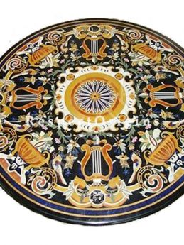 Buy Luxury Round Pietra Dura Black Marble Table Top With inlay Work; Center Corner Side Coffee Dining Table; 5 Feet At RespectOrigins.com