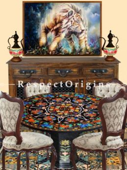 Buy Luxury Black Pietra Dura Marble inlay Work Round Table Tops Hand Carved Dining Table Top; 5 Feet At RespectOriigns.com