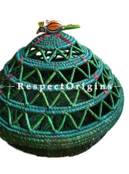 Fabulous Handwoven Multi-Utility Green Moonj Grass Eco-friendly Round Bread or Fruit Basket or Roti Basket; RespectOrigins