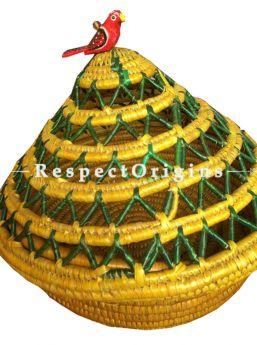 Elegant Handwoven Multi-Utility Yellow & Green Moonj Grass Eco-friendly Round Bread or Fruit Basket or Roti Basket; RespectOrigins
