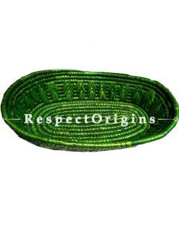 Beautiful Handwoven Green Moonj Grass Eco-friendly Oval Bread or Fruit Basket; Zig Zag Pattern; RespectOrigins