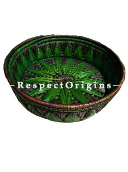Adorable Handwoven Green Moonj Grass Eco-friendly Round Bread or Fruit Basket; Zig Zag Pattern; RespectOrigins