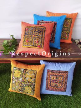 Vibrant Silk Tribal Kuttchi Patch Centre Throw Cushions Set of 5; 16x16 Inches