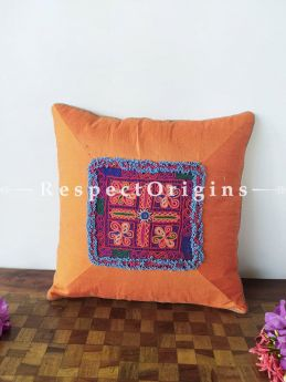 Buy Vibrant Silk Tribal Kuttchi Patch Centre Throw Cushions Set of 5 16x16 Inches at RespectOrigins.com
