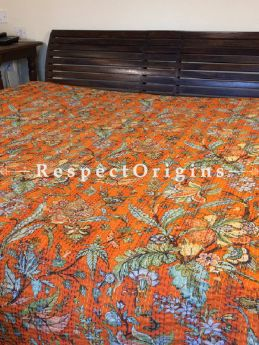 Buy Quilted Cotton Bedspread in orange Base with Hand Block Print Floral Design and Kantha Work; 3 Cushion Covers included; 90x108 in At RespectOrigins.com