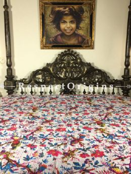Buy Quilted Cotton Bedspread in White Base with Hand Block Print Floral Design and Kantha Work; 3 Cushion Covers included; 90x108 in At RespectOrigins.com