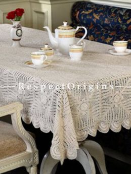 Buy Rectangular Hand Knitted Beige Crochet Table Cover, Round Mats and Coasters Sets; 70x53 in; Cotton At RespectOrigins.com