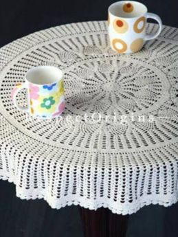 Buy Round Hand Knitted White Crochet Table Covers; Dia-40 in; Cotton At RespectOrigins.com