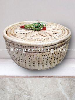 Stunning Handwoven Beige Moonj Grass Eco-friendly Round Bread or Fruit Basket With Lid and Wooden Bird Handle; RespectOrigins
