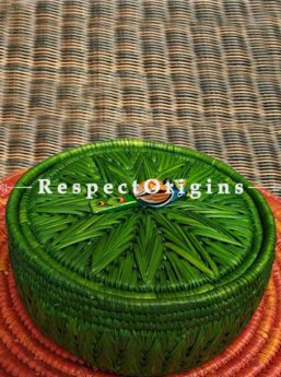 Graceful Handwoven Green Moonj Grass Eco-friendly Round Bread or Fruit Basket With Lid and Wooden Bird Handle; RespectOrigins